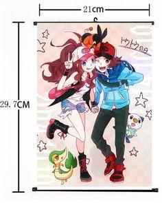 Hot Japan Anime Pokemon Go Pocket Monster Home Decor Poster Wall Scroll Pokemon Hilda, Mew Pokemon Card, Touko Pokemon, Pokemon Oc, Black Pokemon, Pokemon Ships, Pokemon Pictures, Manga Pictures, Pokemon Couples