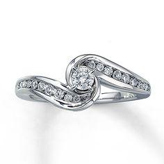 Diamond Engagement Ring 3/8 ct tw Round-Cut 14K White Gold