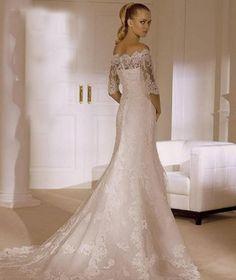 button off-the-shoulder trumpet half sleeve natural waist wedding dress - Frankc.com