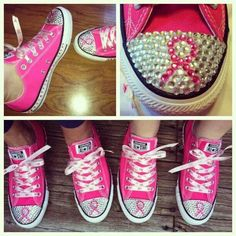 "Pink chucks with black ribbons for ""black is the new pink"" box"
