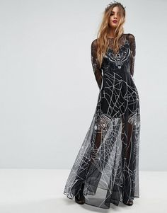 Buy ASOS Halloween Printed Tulle Maxi Dress at ASOS. With free delivery and return options (Ts&Cs apply), online shopping has never been so easy. Get the latest trends with ASOS now. Halloween Costume Contest Winners, Goth Halloween Costume, Wholesale Halloween Costumes, Halloween Prints, Women Halloween, Diy Halloween, Asos Long Dresses, Maxi Dresses, Rock Chic Outfits