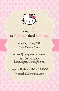 Burlap Hello Kitty Invitation by LittleLawsPrints on Etsy, $25.95  Hello kitty, burlap, birthday, birthday party, invitation