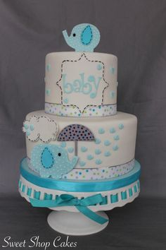 Elephant baby shower cake - Cake by Sweet Shop