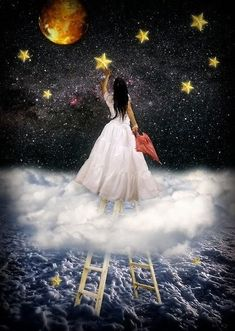 When you try your hardest to reach for the stars, to no avail, then climb a ladder and grab one. (The Door in the Sky) this beautiful fantasy art by this amazing artist. Sun Moon Stars, Falling Stars, Art Et Illustration, Reaching For The Stars, Moon Art, Night Skies, Faeries, Urban Art, Native American Indians