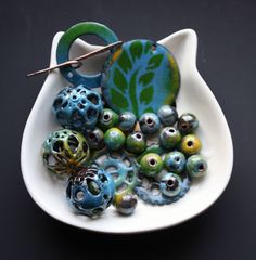 What I received from my BSBP partner, Cheryl Foiles. . .(Enameled everything!!! :D )