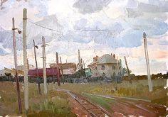 Sketch industrial landscape - Oil  by Aleksey Motorin, 1962
