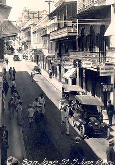 Photograph of San Jose Street, San Juan, Puerto Rico, circa 1915-1920s.
