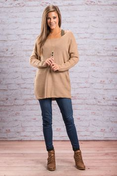 """""""Good For Ya Tunic, Tan"""" This tunic is totally going to be good for you! It's one of our best selling styles! The solid color is going to perfect for pairing with festive scarves! #newarrivals #shopthemint"""