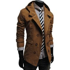 Mens casual double slim cotton hood trench coat