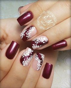 Nail art winter nails in burgundy with white lace nail design Kathy Now🎯🎯. Nail art winter nails in burgundy with white lace nail design Kathy Now🎯🎯🎯 Xmas Nails, Red Nails, Christmas Nails, Winter Christmas, Christmas 2017, Valentine Nails, Holiday Nails, Halloween Nails, White Lace Nails