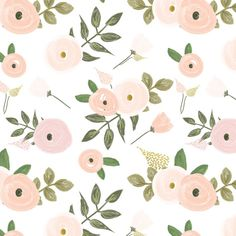 Sweet Candy Floral - Pink and Blush hand painted Flowers - Swaddle, Boppy Cover, Crib Sheet, Changing Pad Cover, Sherpa Blanket, Burp Cloths