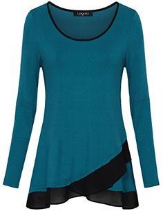 8ad6a0657e8 Made by Emma Womens Long Sleeve Chiffon Stitching Crew Neck A Line Casual  Layered Tunic Shirts