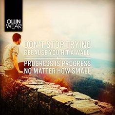 Inspiration Quote: Don't stop trying because you hit a wall, progress is progress no matter how small
