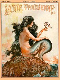 Tatuaje Art Nouveau, Art Nouveau Tattoo, Tattoo Art, Mermaid Poster, Mermaid Art, Vintage Mermaid Tattoo, Mermaid Statue, Mermaid Drawings, Mermaid Tattoos