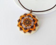 Mandala pendant statement necklace geometric pendant modern