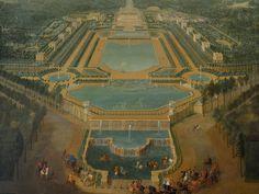 Louis XV enfant se promenant en calèche en vue de l'Abreuvoir et du château de…