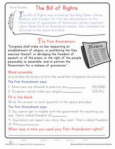 bill of rights printables analyzing bill of rights scenarios worksheet homeschool stuff. Black Bedroom Furniture Sets. Home Design Ideas
