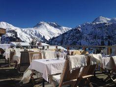 Enjoying the sun on the terrace of Hotel Bergkristall - Oberlech, Austria Enjoying The Sun, Stunning View, Places To Eat, Outdoor Spaces, Austria, Mount Everest, Terrace, Wanderlust, Hotels