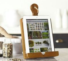 Kitchen Tablet Holder. This tablet holder would be a perfect present for your mom if she often need a tablet to try some new recipes in the kitchen. http://hative.com/creative-diy-gifts-for-mom/