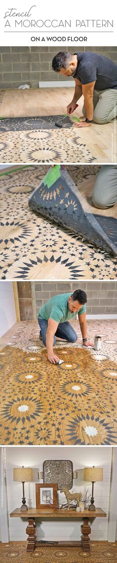 Stencil a Moroccan Pattern On A Wood Floor – Stencil Stories Cutting Edge Stencils shares how Weaber Lumber stenciled a hardwood floor using the Ambrosia Moroccan Tile Stencil. Home Renovation, Home Remodeling, Basement Renovations, Basement Ideas, Stenciled Floor, Floor Stencil, Stencil Wood, Stenciling, Damask Stencil