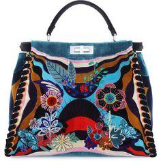 Fendi Peekaboo Large Embroidered Velvet Bag (195.390 ARS) ❤ liked on Polyvore featuring bags, handbags, shoulder bags, black multi, floral handbags, satchel handbags, embroidered handbags, satchel shoulder bag and floral purse