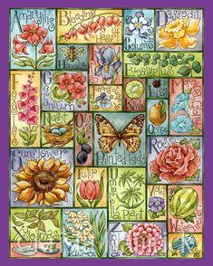 Garden Blooms Alphabet-- original art print 8X10, 11X14