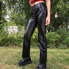 HOLY F#%* These Genuine Leather Corset Trousers😍 Size: Small, would best fit a 24-25 waist, with adjustable corset ties along the hips and the bottom trim! These are by Danier, which made very quality genuine leather pieces back in the day. Pair these suckers with a bell sleeved blouse, a red glossy lip and Demonia boots! I actually am obsessed with these, and they fit ur bod like a million bucks. Such a come up🐾