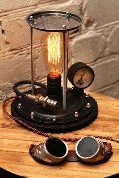 Steampunk lamp / Desk organizer / Industrial lamp / Table | Etsy Loft Lighting, Rustic Lighting, Industrial Lighting, Industrial Design, Loft Lampe, Bicycle Hanger, Desk Lamp, Table Lamp, Edison Lampe