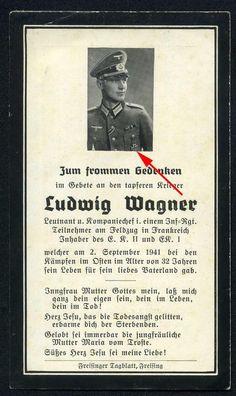 orig. WK2 STERBEBILD - DEATH CARD - OFFIZIER Kp. Chef TOP FOTO - EK1 sichtbar