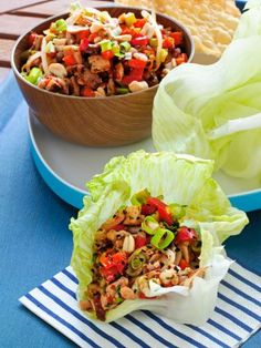 Asian Chicken Lettuce Cups : A quick and flavorful chicken stir-fry fills these lettuce cups, perfect for a party appetizer or a meal.