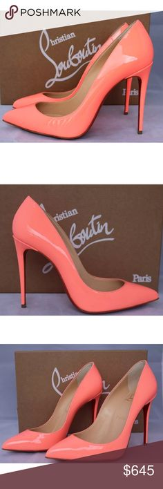 CHRISTIAN LOUBOUTIN PIGALLE FOLLIES SHOES 37.5 CHRISTIAN LOUBOUTIN PIGALLE FOLLIES FLAMINGO PEACH 100 PATENT PUMPS SHOES 37.5 Come with Christian Louboutin box, dust bag, and heel taps Christian Louboutin Shoes Heels