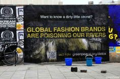 This is a new step from Greenpeace on their Detox campaign. Greenpeace activists and volunteers plastered cities around the world with posters covered with a special non-toxic ink that was washed away to reveal the fashion industry's dirty little secret. #greenpeace #environment #worldwaterday