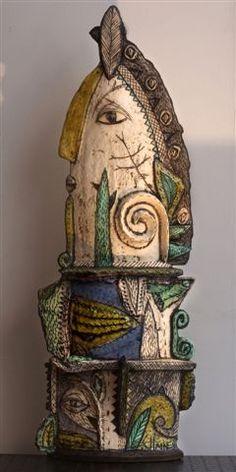 A totem like item by Charmaine Haines Raku Pottery, Pottery Sculpture, Sculpture Clay, Pottery Art, Ceramic Figures, Clay Figures, Ceramic Artists, Ceramic Decor, Ceramic Clay