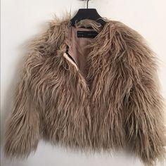 Zara Faux Fur Jacket Zara cropped faux fur jacket. Tan with darker brown accents. Lined. Zara Jackets & Coats