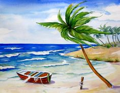 """""""At the Beach"""", painting by artist Meltem Kilic"""