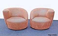 Pair of Vintage Vladimir Kagan Style Brown Suede Swivel Club Swivel Club Chairs, Swivel Chair, Armchair, Upholstered Chairs, Brown Suede, Upholstery, Pairs, Bones, Frames