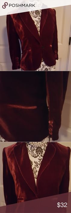 Ann Taylor Loft velvet Blazer Nothing like beautiful plush velvet, softest butter in gorgeous reddish burgundy color. Mourn one night to a party over a black satin top. Go for an eclectic look and pair it with a T-shirt and jeans or a skirt and Boots. Trust me the pictures just don't do this Justice it is gorgeous! LOFT Jackets & Coats