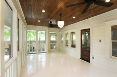 Look at the gorgeous bead board ceiling and antique doors! Rustic Style, Country Style, Vintage Porch, Antique Doors, Porch Ideas, Swings, Dom, Ceilings, My Dream Home