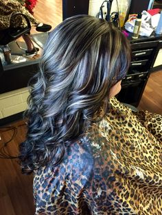 Dark brown with blonde highlights.
