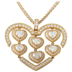 Chopard Happy Amore Rose Gold Diamond Heart Pendant Necklace. circa 21st Century