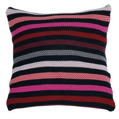 Desirable Knitted Striped Cushion  - Fuchsia