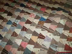 """Antique 1876 Signed Dated Tumbler Block Charm Patchwork Quilt 750 Pcs 92""""X90""""   eBay seller catalpa1961; near center signed in ink: 1875 Centennial - Louisa A. Viles; hand sewn, quilted at 8-9 spi; backing is printed blue/gray/black fabric; some shattering; turkey red binding on only 3 sides; some soiling, yellowing, etc."""