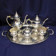 Sterling Silver Tea Sets & Hollowware - Gorham ribbed sterling 6 piece coffee/teapot set with tray over 148 oz troy