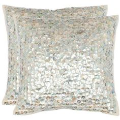 Fiona 18 Inch Silver Decorative Pillows, Set Of 2 Safavieh Home Furniture Accent Pillows T