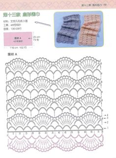 Scarf with crochet pattern chart. Single row or repeats could make a nice scalloped edging & a double pass could become an insertion !(VIA ana di nello) Scarf A singlerow of scallops would make a beautiful edging lace for any project !Your Crochet: c Plaid Au Crochet, Crochet Diy, Crochet Motifs, Crochet Diagram, Crochet Stitches Patterns, Crochet Chart, Love Crochet, Crochet Designs, Cloth Patterns