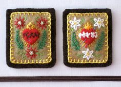 Embroidered Brown Scapular Passionflowers on by StellaMarigoldArt