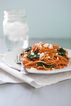 Red Pepper Pasta with Kale & Feta