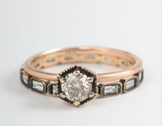 Satomi Kawakita: Hexagon Ring with Champagne Diamond (Paired with the Ila & I Baguette Eternity Band) - From Catbird NYC