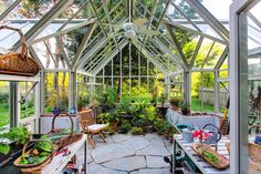 A bespoke Hartley Botanic glasshouse with two porches. #Greenhouse #Greenhouses #Glasshouse #Glasshouses #Garden #Gardens #Gardening #GardenChat #HartleyBotanic