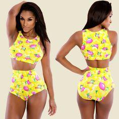 Women Sexy Two Pieces Fruit Print High Waist Swimsuit Swimwear Beach Wear Bikini Set